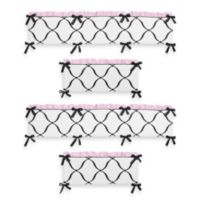Sweet Jojo Designs Princess 4-Piece Crib Bumper in Black/White/Pink