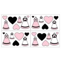 Sweet Jojo Designs Princess Wall Decals in Black/White/Pink