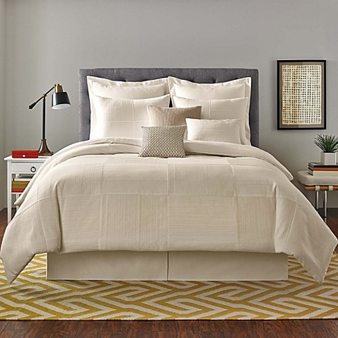 Real Simple® Linear Patchwork Full/Queen Comforter Set in Stone