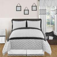 Sweet Jojo Designs Zig Zag Full/Queen 3-Piece Comforter Set in Grey/Black