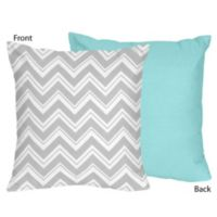 Sweet Jojo Designs Zig Zag Chevron Throw Pillow in Grey/Turquoise
