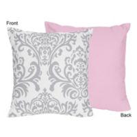 Sweet Jojo Designs Elizabeth Decorative Pillow in Pink/Grey