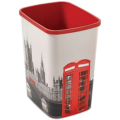 Decorative london wastebasket bed bath beyond - Cool wastebaskets ...