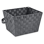 Small Woven Storage Tote in Grey