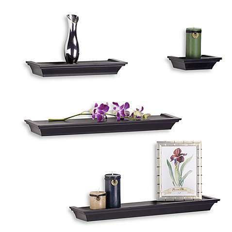 glamorous decorative bathroom wall shelves | Melannco 4-Piece Ledge Set in Black - Bed Bath & Beyond