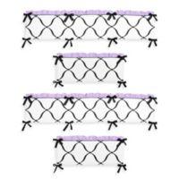 Sweet Jojo Designs Princess 4-Piece Crib Bumper Set in Black/White/Purple