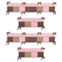 Sweet Jojo Designs Soho 4-Piece Crib Bumper in Pink/Brown