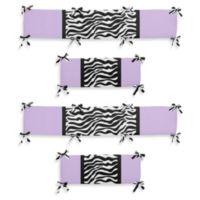 Sweet Jojo Designs Funky Zebra 4-Piece Crib Bumper in Purple