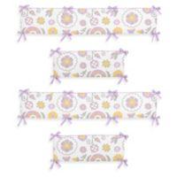 Sweet Jojo Designs Suzanna 4-Piece Crib Bumper Set in Lavender/White