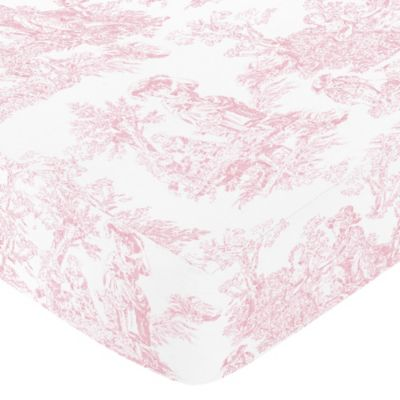 Sweet Jojo Designs Pink French Toile Collection Ed Print Crib Sheet In White