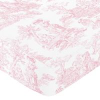 Sweet Jojo Designs Pink French Toile Collection Fitted Toile Print Crib Sheet in Pink/White