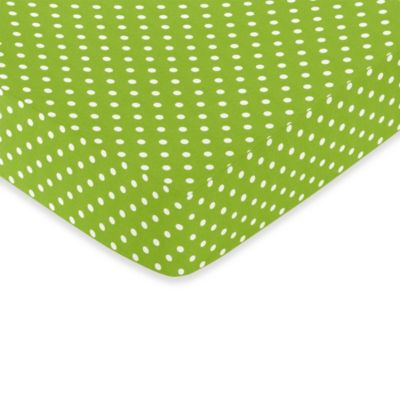 sweet jojo designs lime and black spirodot fitted polka dot print crib sheet in white