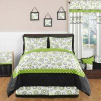 Sweet Jojo Designs Spirodot 3-Piece Full/Queen Bedding Set in Lime/Black