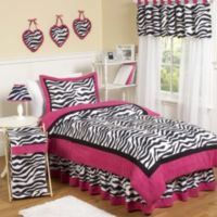 Sweet Jojo Designs Funky Zebra Full/Queen 3-Piece Comforter Set in Pink