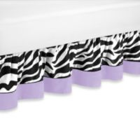 Sweet Jojo Designs Funky Zebra Toddler Bed Skirt in Purple
