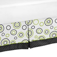 Sweet Jojo Designs Spirodot Queen Bed Skirt in Lime/Black