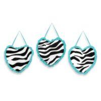 Sweet Jojo Designs Funky Zebra Wall Hangings in Turquoise