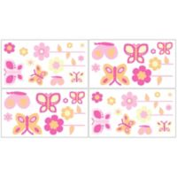 Sweet Jojo Designs Pink and Orange Butterfly Wall Decal Stickers