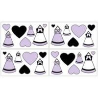 Sweet Jojo Designs Princess Wall Decals in Black/White/Purple (Set of 4)