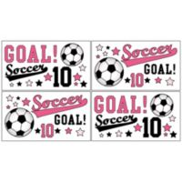 Sweet Jojo Designs Soccer Wall Decal Stickers in Pink