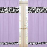 Sweet Jojo Designs Funky Zebra Window Panel Pair in Purple