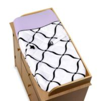 Sweet Jojo Designs Princess Changing Pad in Black/White/Purple