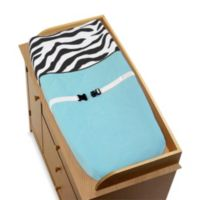 Sweet Jojo Designs Funky Zebra Changing Pad Cover in Turquoise