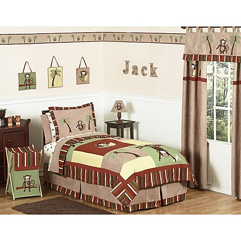 Sweet Jojo Designs Monkey Time Bedding Collection Bed