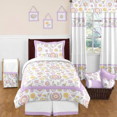 Sweet Jojo Designs Suzanna 4 Piece Twin Comforter Set In Lavender/White