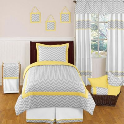Incroyable Sweet Jojo Designs Zig Zag Twin 4 Piece Bedding Set In Grey/Yellow