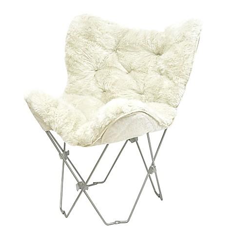 Mongolian Fur Butterfly Chair in White. Mongolian Fur Butterfly Chair in White   Bed Bath   Beyond