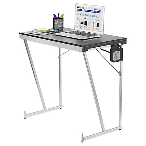 Folding pc table with power work station bed bath beyond for Pc bed table
