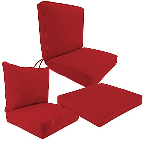 Beautiful Outdoor Seat Cushion Collection In Sunbrella® Canvas Jockey Red
