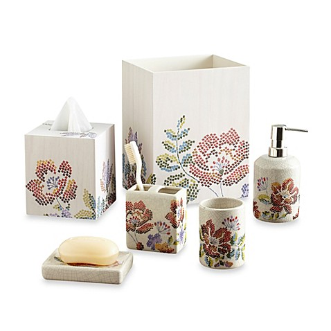 Croscill mosaic floral bathroom accessories bed bath for Mosaic bathroom set