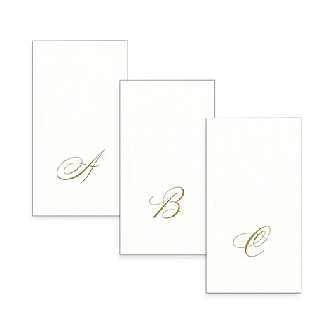 image of Caspari Monogram Paper Linen Guest Towels (24-Pack)