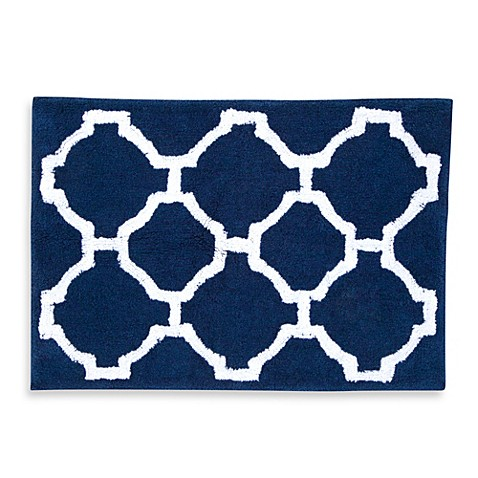 Jill Rosenwald Hampton Links 20 Inch X 30 Inch Bath Rug In Navy White Bed Bath Beyond