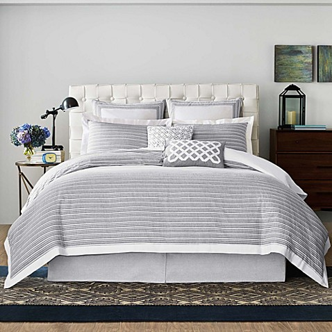Real Simple 174 Soleil Duvet Cover In Grey Bed Bath Amp Beyond