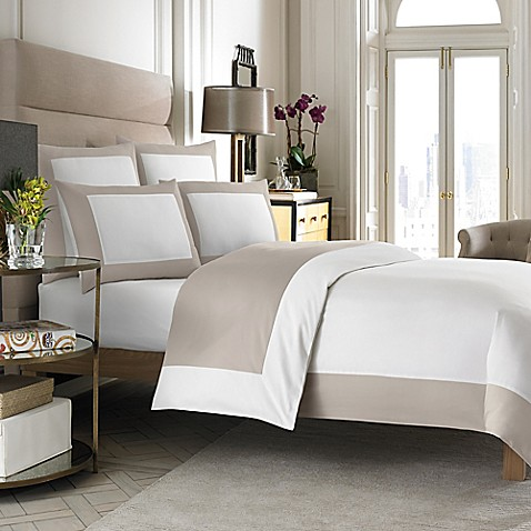 Wamsutta Hotel Micro Cotton Reversible Duvet Cover In White Taupe Bed Bath Beyond