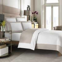 Wamsutta Hotel Micro Cotton Reversible King Duvet Cover In White Taupe