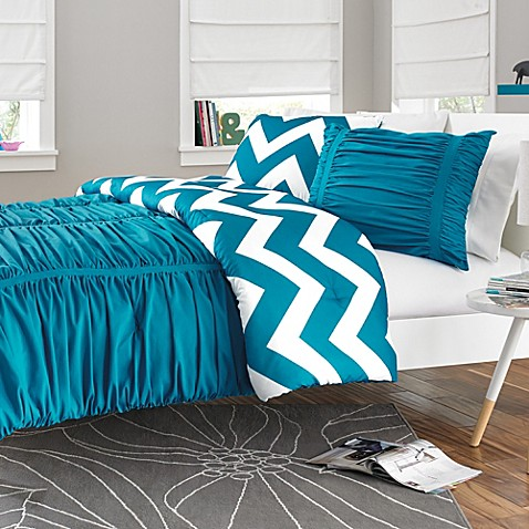 Reagan Reversible Comforter Set In Peacock Blue Bed Bath