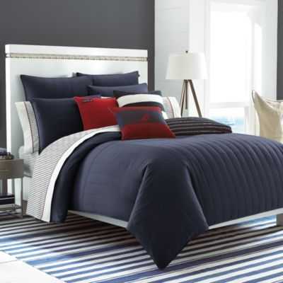 Nautica® Mainsail Reversible King Comforter and Sham Set in Navy