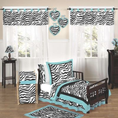 sweet jojo designs funky zebra 5piece toddler bedding set in turquoise