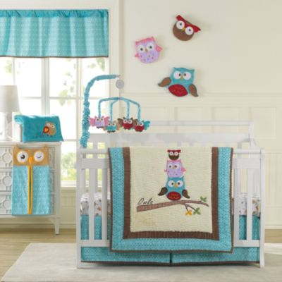 Laugh Giggle Smile Spotty Owls 10 Piece Crib Bedding Set