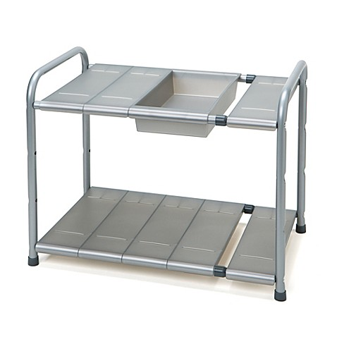 Two tier expandable under the sink shelf bed bath beyond for Under sink cabinet tray