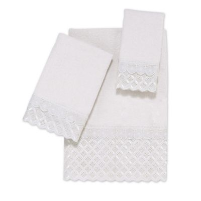 avanti scalloped eyelet hand towel in white