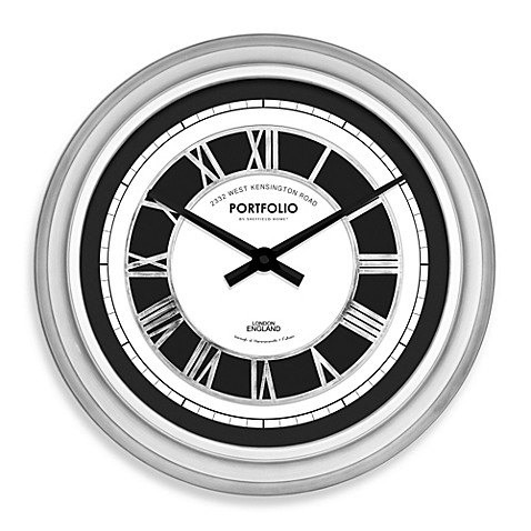 Raised Roman Numeral 20 Inch Wall Clock In Antique Silver