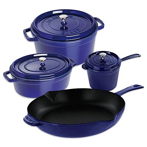 staub enameled cast iron cookware in dark blue bed bath beyond. Black Bedroom Furniture Sets. Home Design Ideas