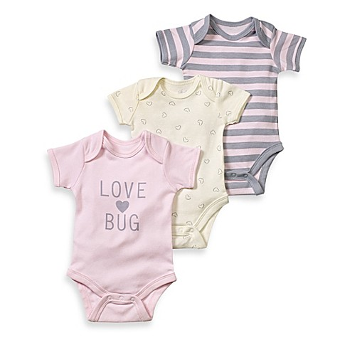 Sterling Baby Love Bug 3-Pack Bodysuit Set in Pink/Grey/Ivory