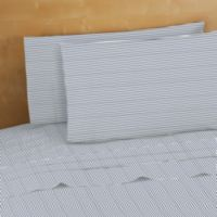 220-Thread-Count 100% Cotton Full Sheet Set in Navy Stripes