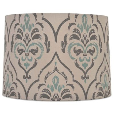 Buy medium lamp shade from bed bath beyond mix match medium 15 inch damask drum lamp shade in greyteal aloadofball Image collections